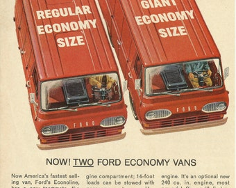 FORD ECONOLINE VAN Original 1963 Vintage Color Print Ad - Red Vans; Regular Economy and New Giant Size
