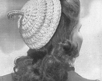 Crochet Pattern, Hat, Star Stitch, vintage 1941, pdf,  instant download