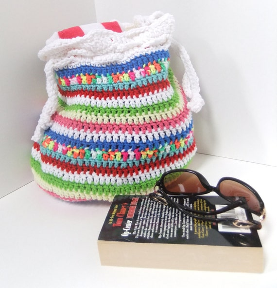Beach Bag - Crochet Beach Bag - Large Drawstring Multicolored Summer ...