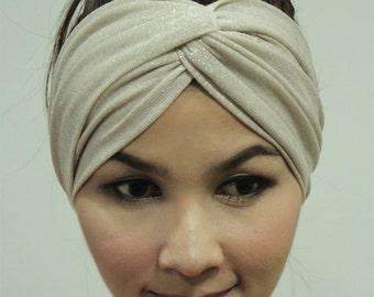 Cream Color Twinkle Twist Headband Turban Slick and Simple Style Headwrap Ear warmer