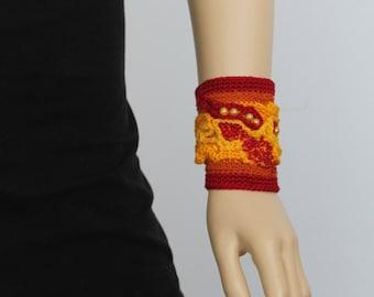 Freeform Crochet Cuff -  Bracelet