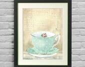 Kitchen Art Vintage teacup Tea Cup Print Mint Cream Rose Shabby Chic Home Decor
