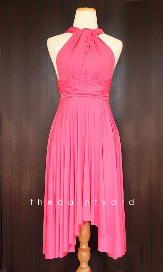Candy Pink Bridesmaid Convertible Dress Infinity Dress Multiway Dress Wrap Dress Wedding Dress