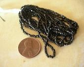 Jet Black Vintage Seed Beads FULL HANK Tri Cuts 2 cuts full petite hank 10 strands size 12-0