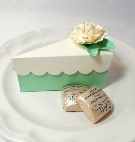Paper cake favor boxes : Mint paper cake slice party favor box wedding by