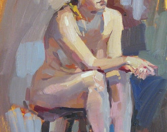 "Art painting nude model ""The Swedish Student"" Original oil by Sarah Sedwick 11x14in"