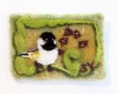 Original ACEO Needle Felted Wool Painting Birds Chickadee