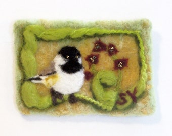 Original ACEO Needle Felted Wool Painting Birds Chickadee
