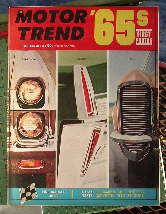 Motor Trend September 1964 Vintage Automobile Magazine 1965