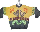 Hieroglyphic - Vintage Men's Hugo Boss Sweater, 80s Abstract Tribal Design, Hand Embroidered Details, Gold & Charcoal Gray, Size L / XL