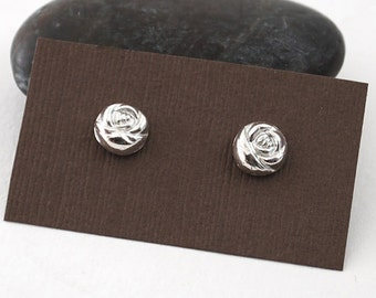 Sterling Silver Rose Earrings - Small Rose Stud Earrings - Sterling Silver Post Earrings