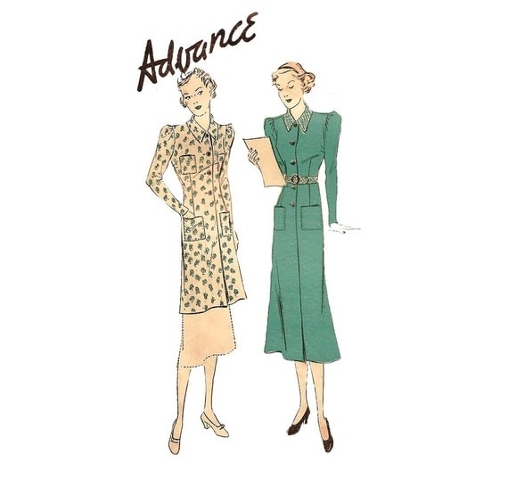 1930s Womens Smock - Advance 1688 Vintage Pattern - 38 Bust - Smock Dress