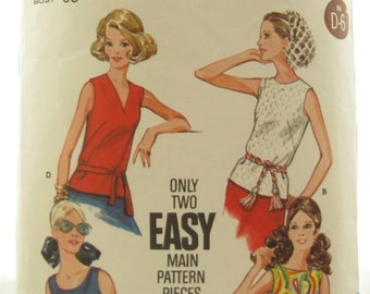 Butterick 3318 Summer Shirt Shell Vintage Sewing Pattern Bust 36