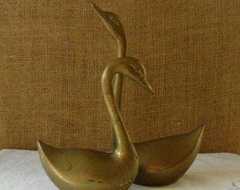 VINTAGE Brass Swans Pair Solid Brass Swans Made India 2 Swan Figurines Solid Brass Swans