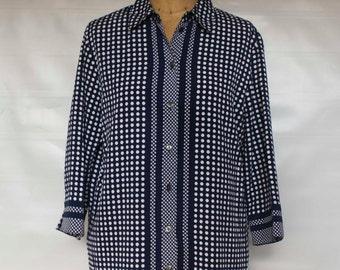 Kimono cut Navy Blue Polka Dot Long Sleeve