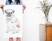 Pug Dog Tea Towel (pug birthday gift, tattoo pug gift, traditional tattoo lover gift, pug boyfriend, pug girlfriend, pug wedding gift)