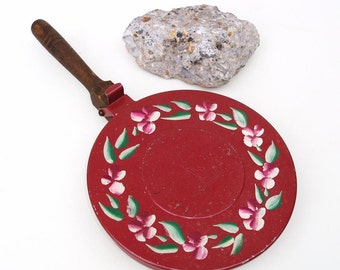 Vintage Toleware Tray, Crumb Catcher, Silent Butler, Metal Tray, Ashcatcher - Maroon Pink Green