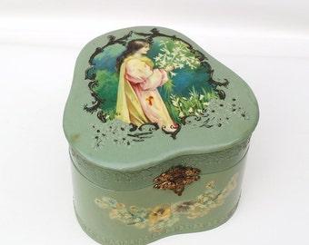 Victorian Collar Box, Antique Storage Box, Victorian Celluloid Box, Dresser Box, Fine Art Lithograph - Teal Green
