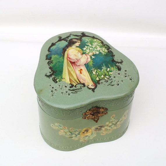 Victorian Collar Box, Antique Storage Box, Victorian Celluloid Box, Dresser Box, Fine Art Lithograph - Teal Green