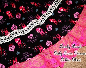 Fawn Princess Lovely Punch Hot Pink and Black Lolita Skirt - ANY SIZE