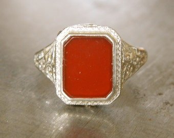 Art Deco Ring - Edwardian Ring - Vintage Carnelian Filigree Ring - Right Hand Ring - Orange Ring - Unique Engagement Ring - Wedding Ring