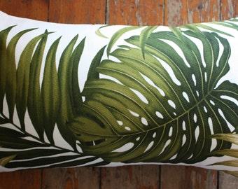 hawaiian palm leaf barkcloth 30x50cm lumber cushion