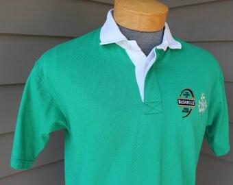 newer vintage -Kooga- Irish rugby jersey. IRFU - Bushmills. Kelly Green - Cotton / Poly blend. Small