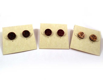 Om Symbol Sustainable Wooden Post Earrings - Walnut Wood Studs