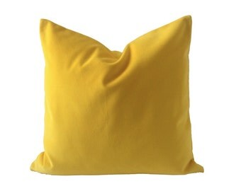 Canary Yellow  Cotton Velvet Pillow Cover -Decorative Accent Throw Pillows - Invisible Zipper Closure - Knife Or Piping Edge -16x16 to 26x26