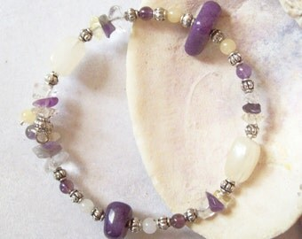 Bracelet, Amethyst, Citrine and Crystal on Memory Wire  ID 096