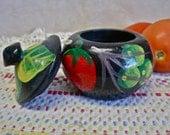 Mexican Papier Mache Trinket Box: Hand Painted Fruit Vegetables Vintage 70s Glossy Primitive Folk Art Kitchen Decor