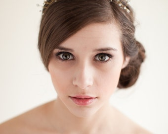 Tiara Bridal Headpiece, Wedding Tiara, Bridal Crown, Twisted Wire Tiara, Rhinestone Headpiece - Helen - Style 4413