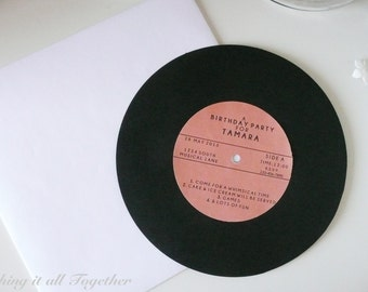 """7"""" Cardstock Record-look-a-like Custom Invitation - for Weddings, Birthdays and other events"""
