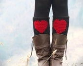 Red Black Short Heart Knit Boot Cuffs. Heart Short Leg Warmers. Crochet heart Boot Cuff Legwear, Boot Cuffs, Boot Socks, Winter Legwear Fall