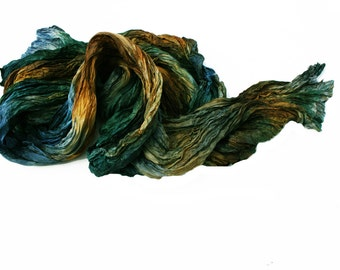 hand dyed silk scarf - Kings  Tale -  brown, green, emerald, blue, navy blue silk scarf.