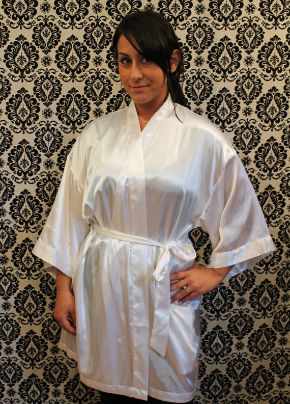 White Satin Robe QUALITY the Bride Wedding kimono by ...