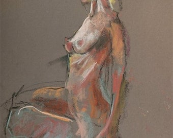 """Nude female fine art original pastel figure drawing by artist Vernon Grant, """"Seated Woman"""" 18"""" x 24"""""""