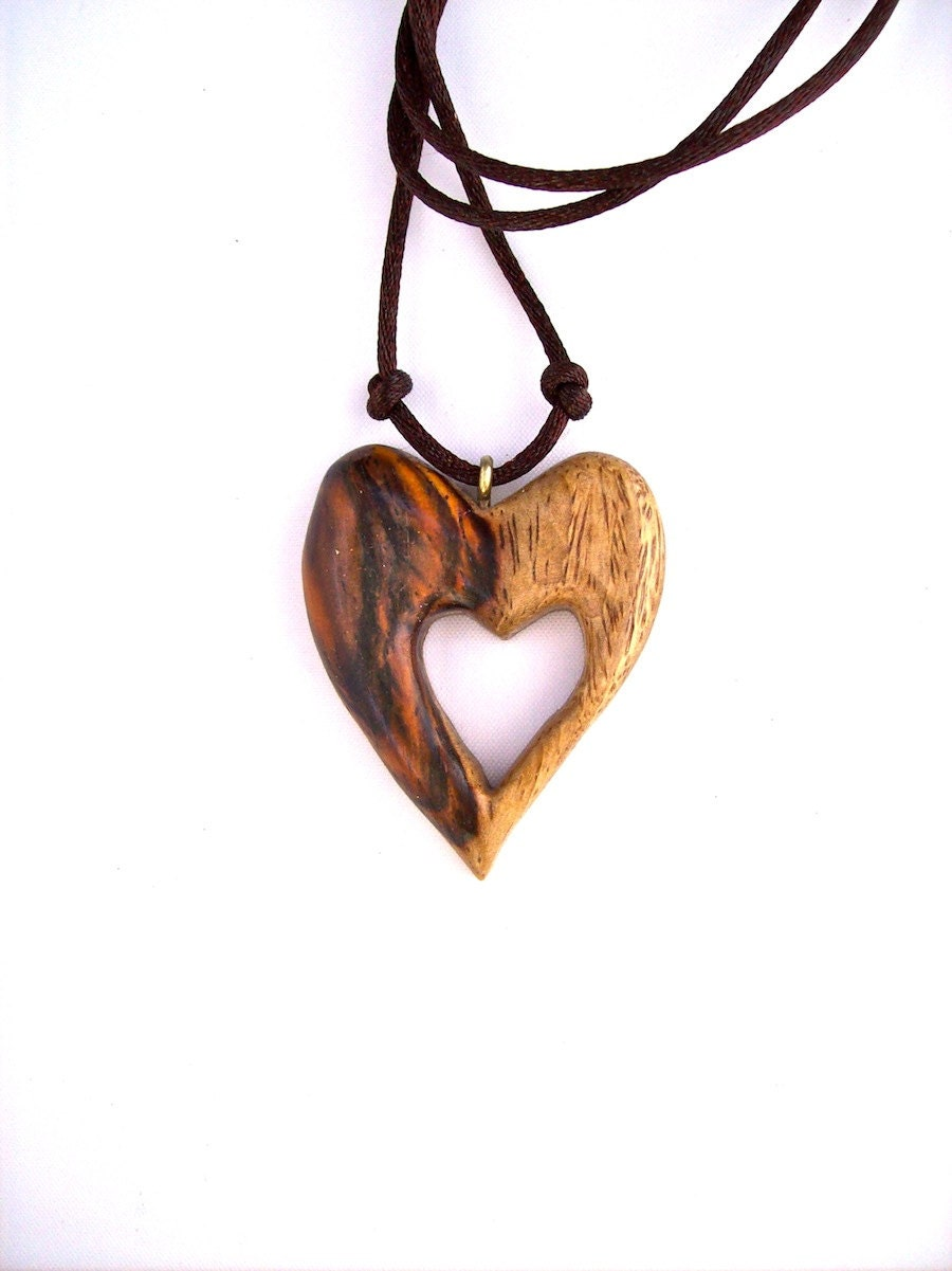 Wood Heart Pendant Wooden Heart Necklace Wooden Pendant