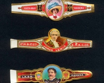 3 Different Vintage Cigar Bands - Collage, Mixed Media, Artist Trading Cards, Journals