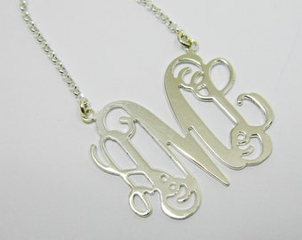 """Monogram Initial Personalized Necklace 1"""" - Sterling silver 925. personal gift, gift for her, monogram jewelry."""