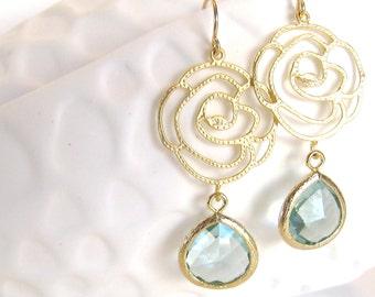 Aqua Earrings Aqua Bridesmaid Earrings Aqua Gold Earrings Gold Rose Charm Rosebud Mint Crystal Gold Flower Earrings Aqua Wedding Jewelry