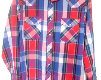 Vintage Wrangler Western Plaid Shirt Red Blue Men's Large