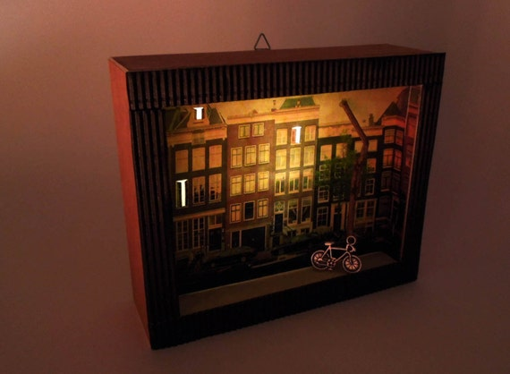 Amsterdam Love Lighted Shadow Box Diorama With By Happyvillage