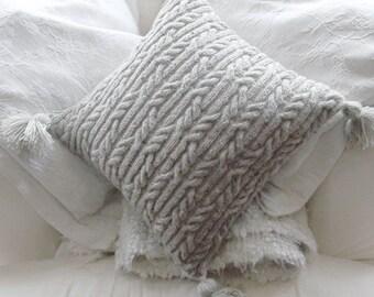Aran Trellis Cable Cushion/Pillow Hand Knitting Pattern. PDF