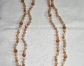 Vintage Long Tan Moonglow Necklace (N-3-3)