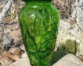 Margies Garden Tall Vase Green Studio Art Glass Home Decor Gift Ideas