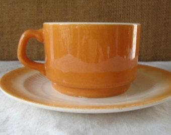 MID CENTURY Orange LUSTERWARE Cup And Dessert Plate Mid Mod Orange Sunset Lusterware