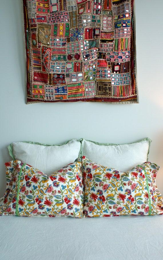 Vintage Organic Cotton Pair Indian Hand Block Print Pillow