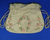 Antique Woman's Embroidered Cloth Purse Bag Tote with Drawstring Pink and White Flowers and Pale Green Leaves Medallion