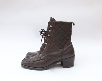 Vintage brown leather heeled lace up shoe boots with quilted details US7